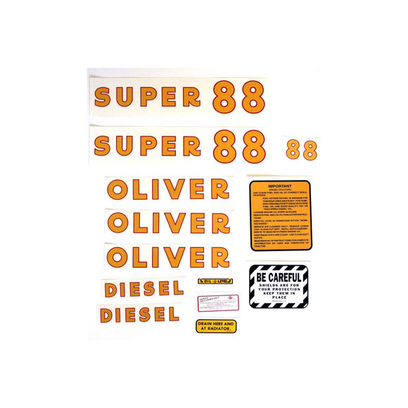 Oliver Super 88 Diesel: Mylar Decal Set - Bubs Tractor Parts