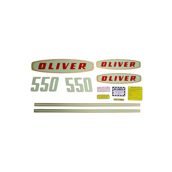 Oliver Early 550 Gas: Mylar Decal Set - Bubs Tractor Parts