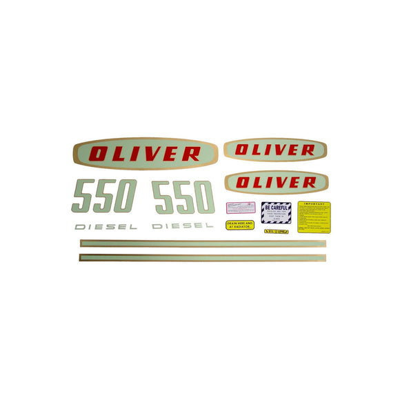 Oliver Early 550 Diesel: Mylar Decal Set - Bubs Tractor Parts