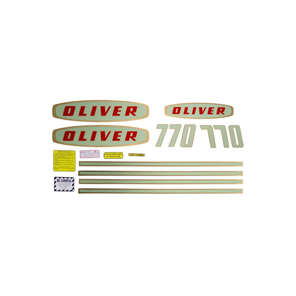 Oliver Early 770 Gas: Mylar Decal Set - Bubs Tractor Parts