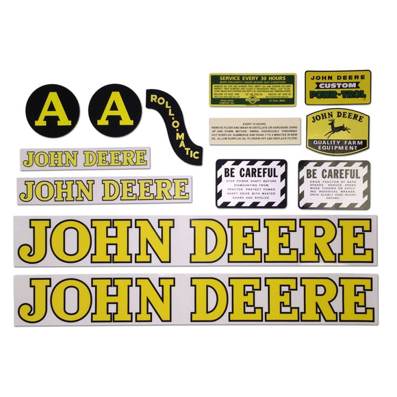 JD A Styled Hood 1947-52: Mylar Decal Set - Bubs Tractor Parts