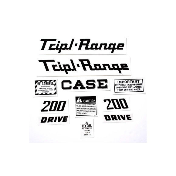 Case 200 Triple Range: Mylar Decal Set - Bubs Tractor Parts