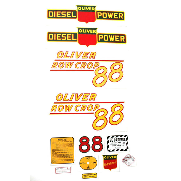 Oliver 88 Rowcrop Diesel: Mylar Decal Set - Bubs Tractor Parts