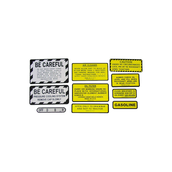 IH 200, 230 Gas: Mylar Misc Decal Set -- 10 Pieces