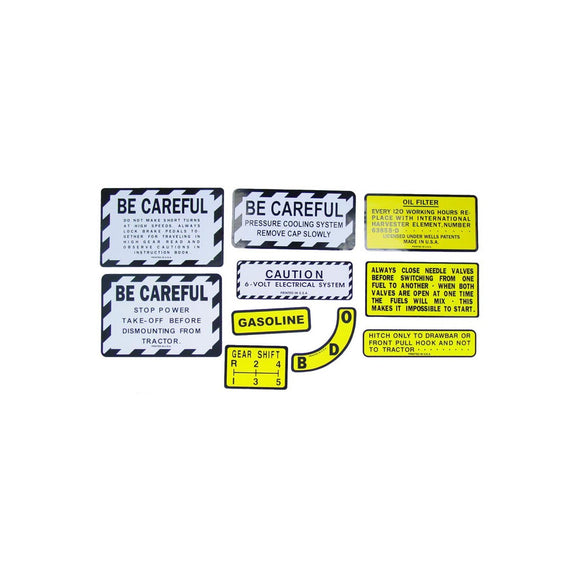 IH 350 Gas: Mylar Misc Decal Set -- 11 Pieces