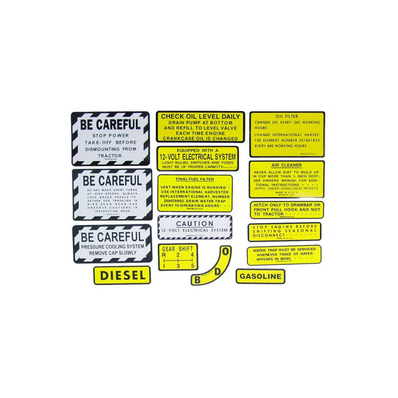 IH 400, 450 Diesel: Mylar Misc Decal Set -- 15 Pieces