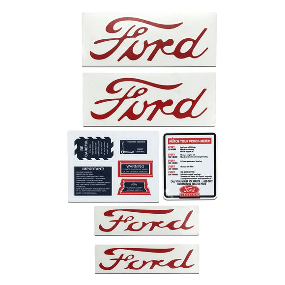 Ford NAA, Jubilee - 9 Piece Vinyl Decal Set - Bubs Tractor Parts