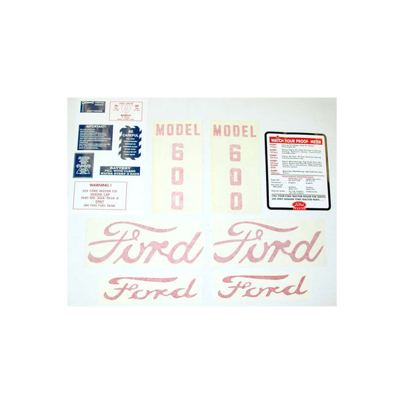 Ford 600 1955 - 1957: 14 piece mylar and vinyl cut Decal Set - Bubs Tractor Parts