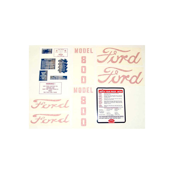 Ford 800 1955 - 1957: 14 piece mylar and vinyl cut Decal Set - Bubs Tractor Parts