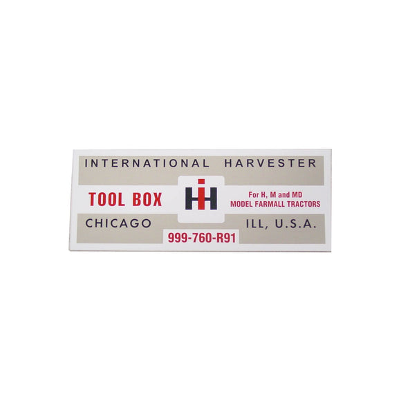 IH H, M: Tool Box Lid Decal - Bubs Tractor Parts