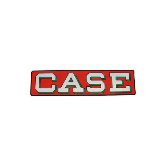 Case Decal -- silver letters, red background - Bubs Tractor Parts