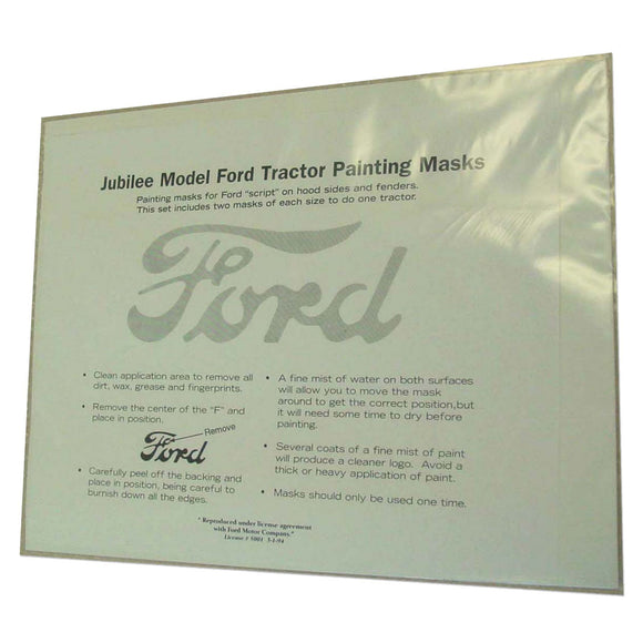 Ford Script Painting Mask Kit (For - Fenders And Hoods) - Bubs Tractor Parts