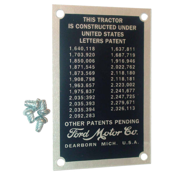 Patent Data Plate With Drive Screws - Bubs Tractor Parts