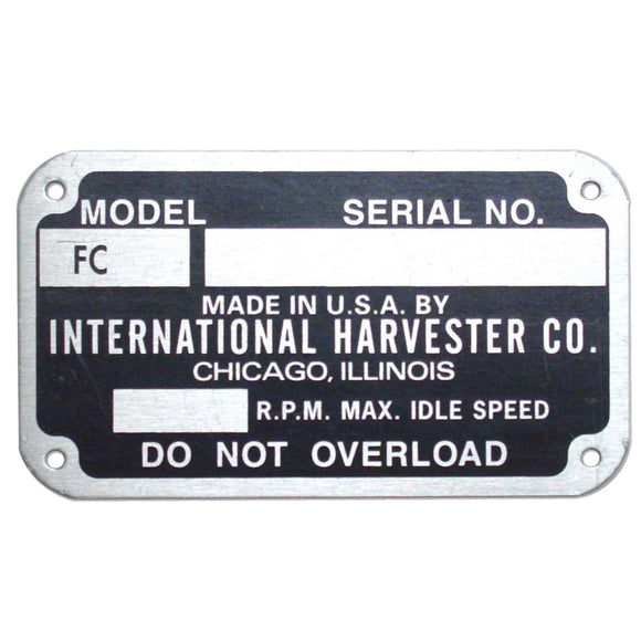Early Style Serial Number Tag (1948-1949) - Bubs Tractor Parts