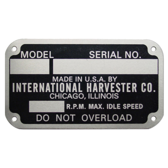 Early Style Serial Number Tag (1939-1949) - Bubs Tractor Parts