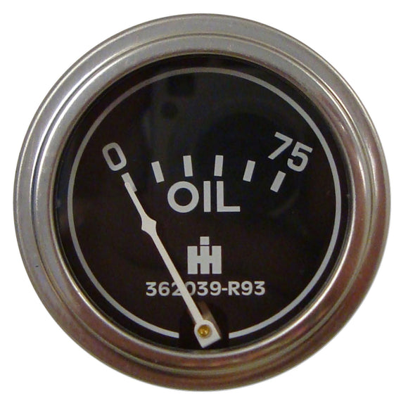 Oil Pressure Gauge (0-75 PSI) - Dash mounted - Bubs Tractor Parts