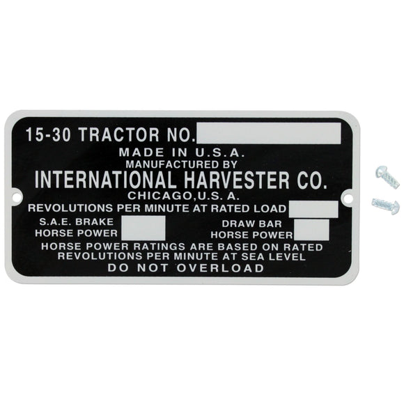 Serial Number Plate - Bubs Tractor Parts