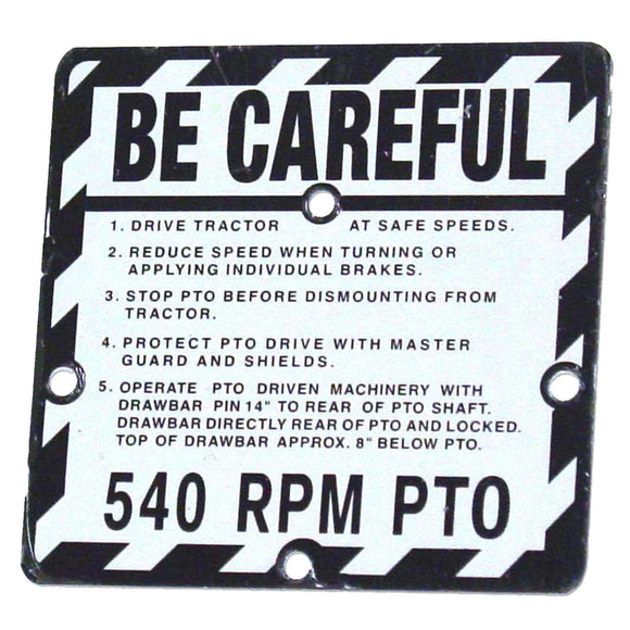 Be Careful Plate - Bubs Tractor Parts