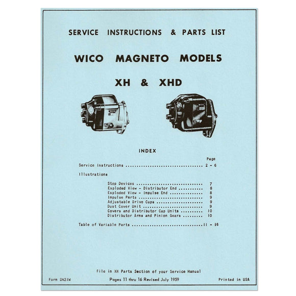 WICO XH & XHD Magneto Service (Instructions and Parts List) (1959)