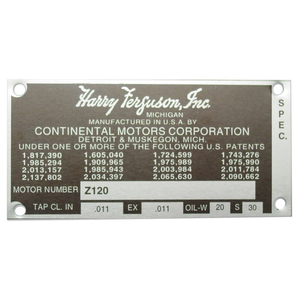 Blank Engine Serial Number Tag With 4 Rivets