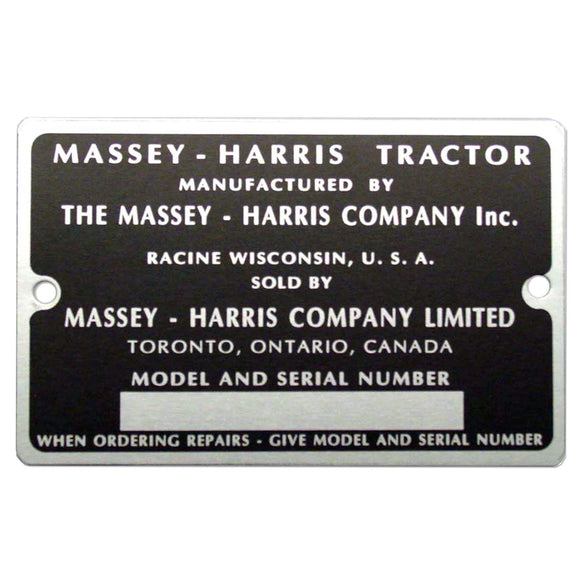 Serial Number Tag With Rivets - Bubs Tractor Parts