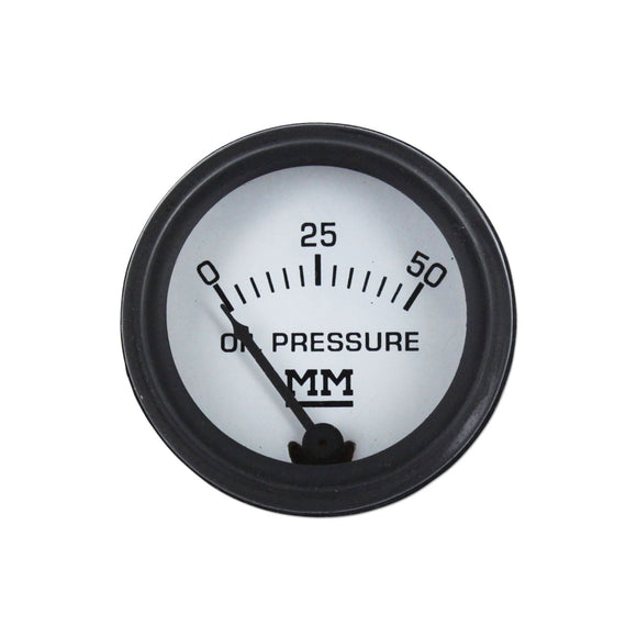 Restoration Quality Oil Pressure Gauge, Black Bezel (0-50 PSI) - Bubs Tractor Parts