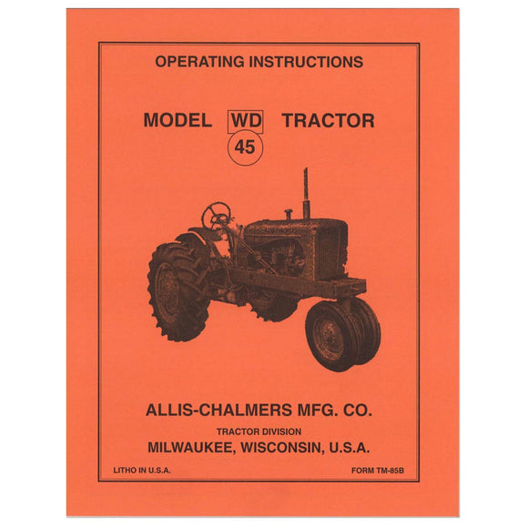 Operators Manual Reprint: AC WD45 - Bubs Tractor Parts