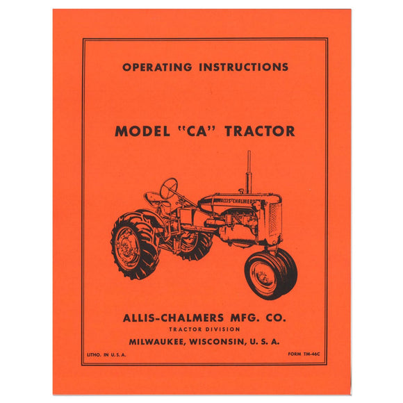 Operators Manual Reprint: AC Ca - Bubs Tractor Parts