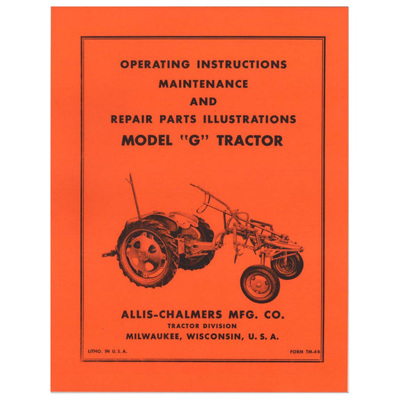 Operators Manual Reprint: AC G - Bubs Tractor Parts