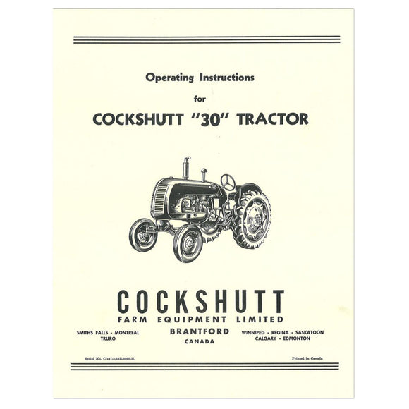 Operators Manual Reprint: Cockshutt 30, Co-Op E3 - Bubs Tractor Parts