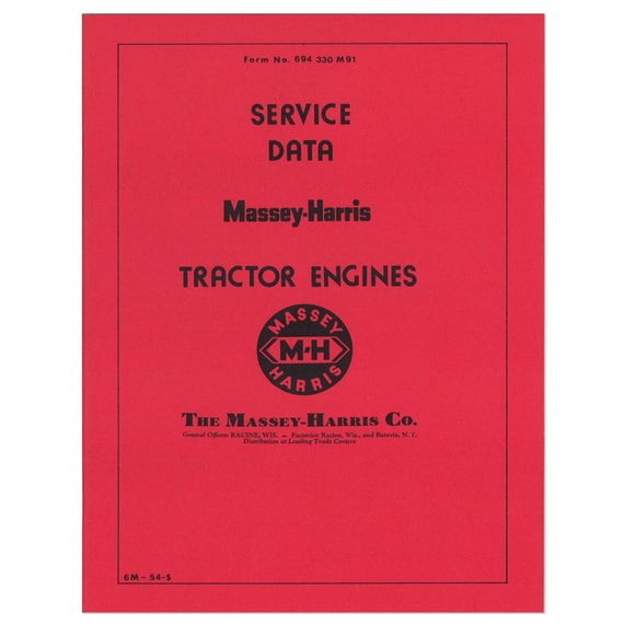 Manual -- MH Service Data For Tractor Engines - Bubs Tractor Parts