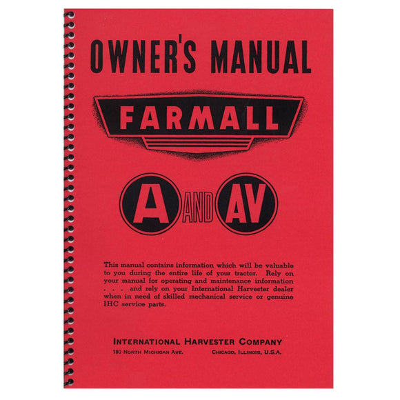 Owners Manual: Farmall A, AV - Bubs Tractor Parts