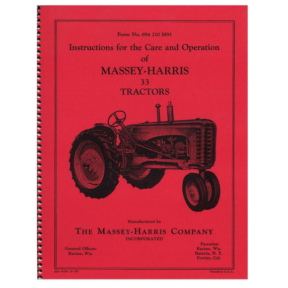 Operators Manual: MH 33 - Bubs Tractor Parts