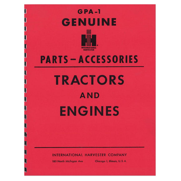 Genuine IH Parts Accessories Service Items & Accessories Manual - Bubs Tractor Parts