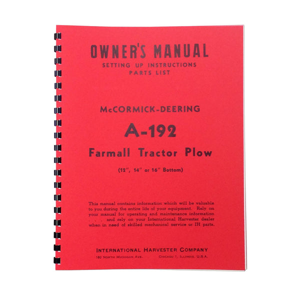 MCD A-192 Plow Owners Manual --- Setting Up Instructions / Parts List - Bubs Tractor Parts