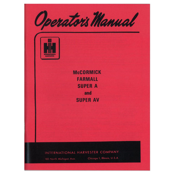 Operators Manual: Super A - Bubs Tractor Parts