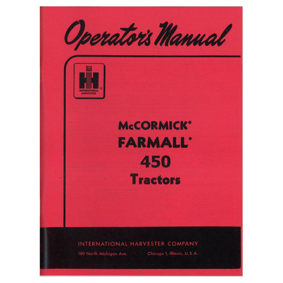 Operators Manual: Farmall 450 - Bubs Tractor Parts