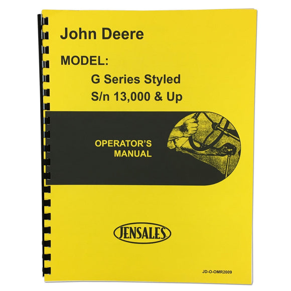 Styled JD G Operators Manual - Bubs Tractor Parts