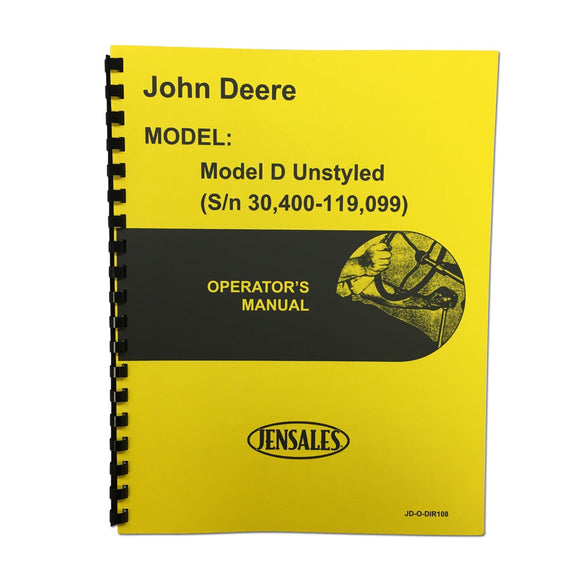 Operator And Parts Manual Unstyled JD D - Bubs Tractor Parts