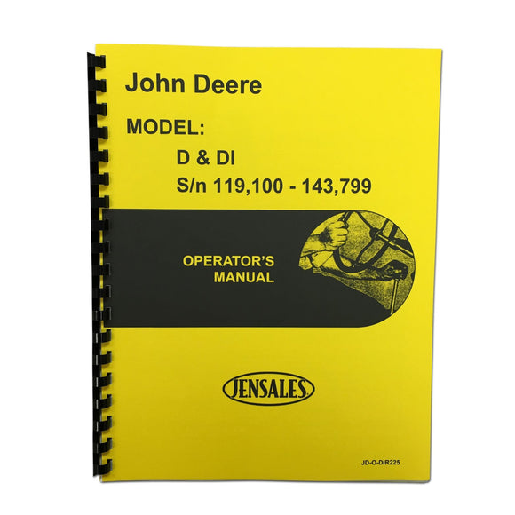 Operator Manual Unstyled JD D - Bubs Tractor Parts