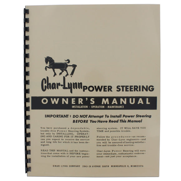 Char-Lynn Power Steering Owners Manual - Bubs Tractor Parts