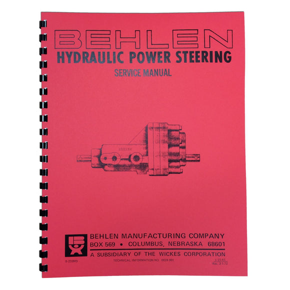 Behlen Power Steering Service & Parts Manual - Bubs Tractor Parts