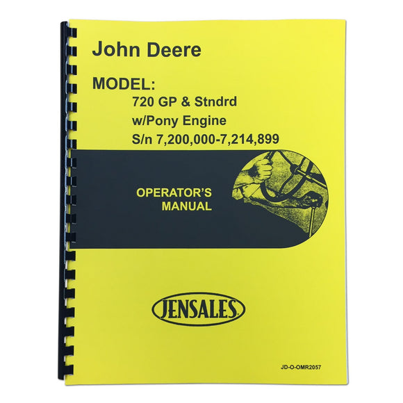 Operators Manual Reprint: JD 720 Diesel Pony Start Early Serial Numbers - Bubs Tractor Parts