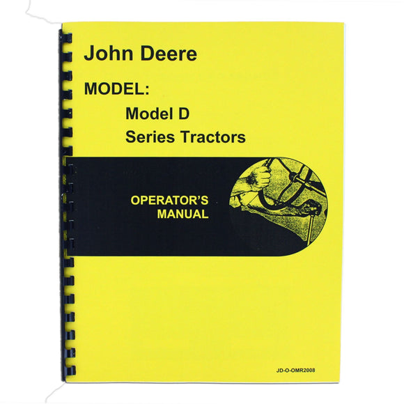 Operators Manual Reprint: JD Styled D Series serial number 143,800 and higher - Bubs Tractor Parts