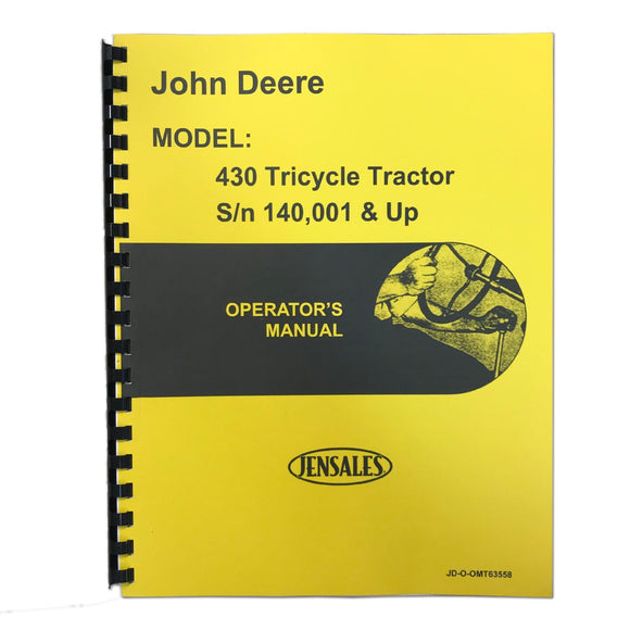 Operators Manual Reprint: JD 430 Tricycle - Bubs Tractor Parts