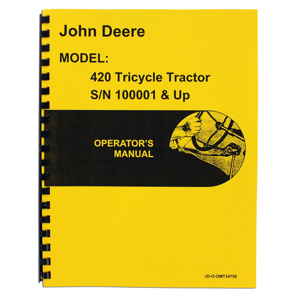 Operators Manual Reprint: JD 420 Tricycle only - Bubs Tractor Parts