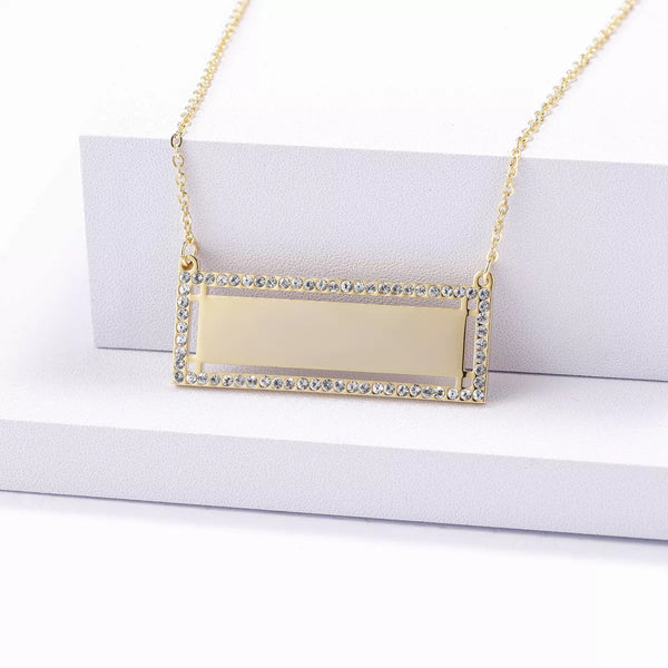 MOGUL - ICED OUT CUSTOM ENGRAVED BAR NECKLACE