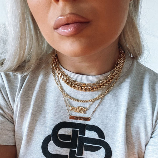 GOLDIE & CUBAN - SET OF 2 LAYERING CHAINS