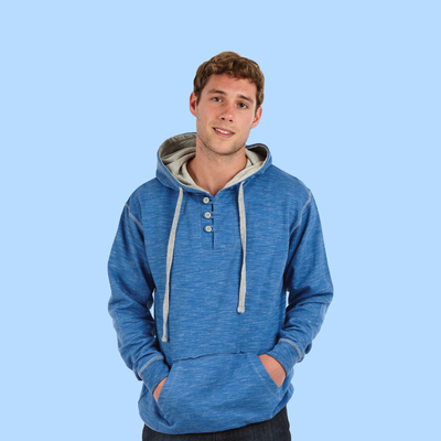 Adult Space Dye 3-Button Henley Hoodie (Style #785)