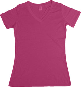 LADIES HEATHER V-NECK SHORT SLEEVE T-SHIRT FINE JERSEY (STYLE #889H)